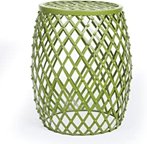 Adeco CH0146 Home Garden Accents Wire Round Iron Metal Stool Side Plant Stand, Hatched Diamond Pattern, for Indoor Outdoor End Tables, Green