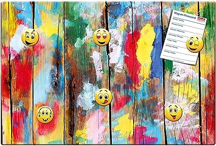 Colorido de madera pared - Metal pizarra magnética 60 x 40 ...