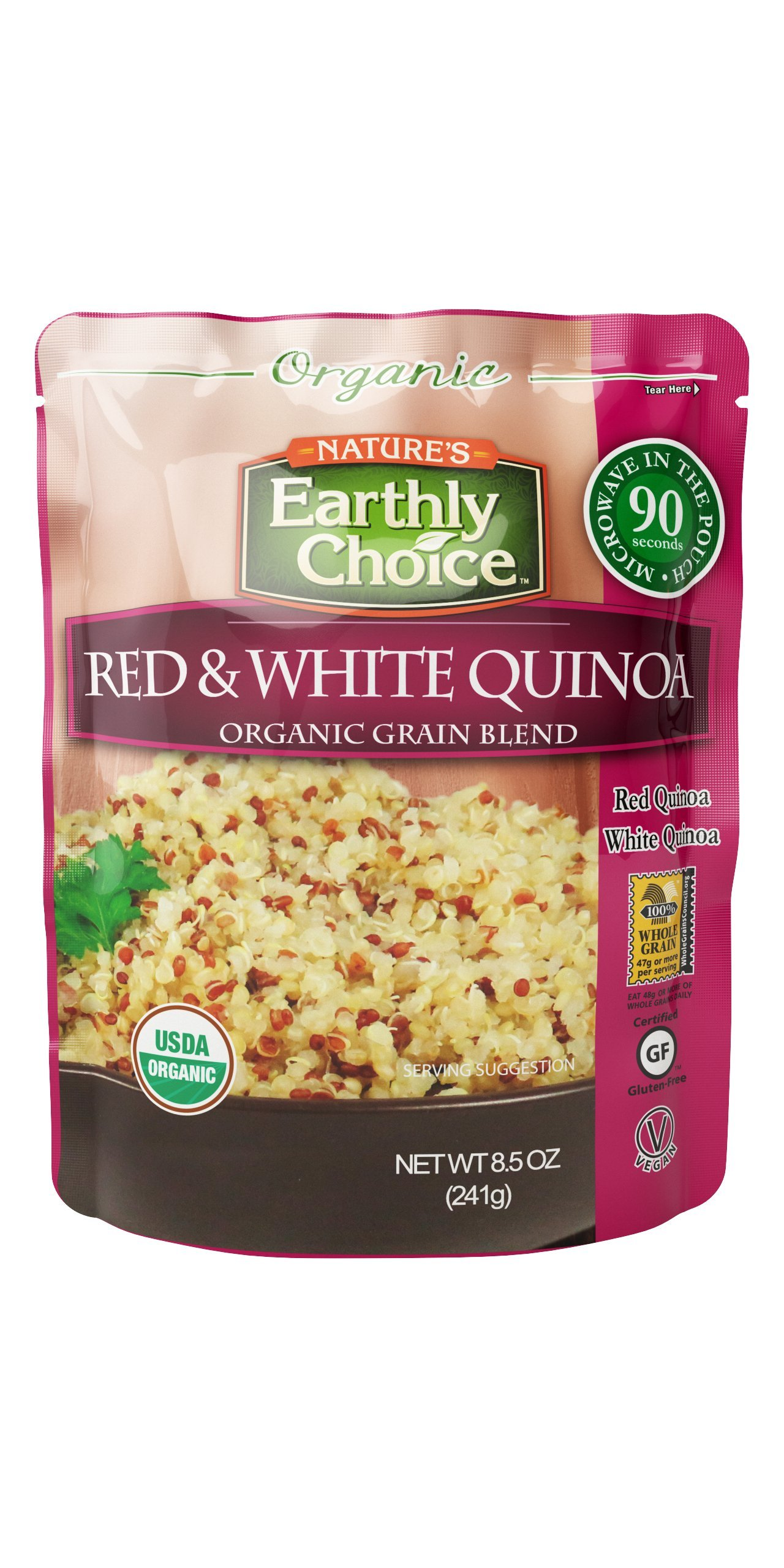 Nature's Earthly Choice Organic Grain Blend, Red & White Quinoa, 8.5 Ounce (Pack of 6)