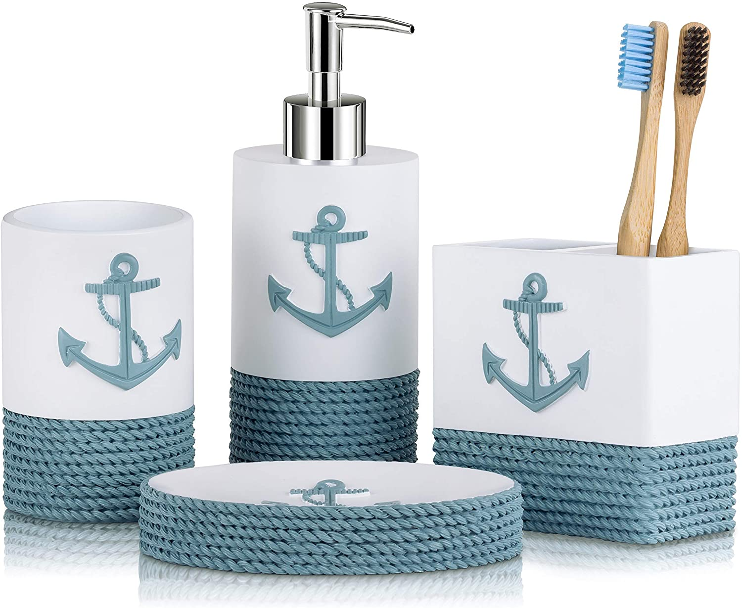 TideAndTales Nautical Bathroom Decor 4 Piece Bathroom Accessories Set | Rope and Anchor Bathroom Decor with Ocean and Sea Theme | Coastal Bathroom Soap Dispenser Set | Beach Bathroom Decor