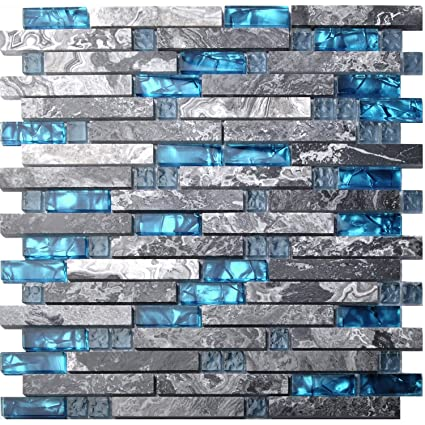 Home Building Glass Tile Kitchen Backsplash Idea Bath Shower Wall Decor  Teal Blue Gray Wave Marble