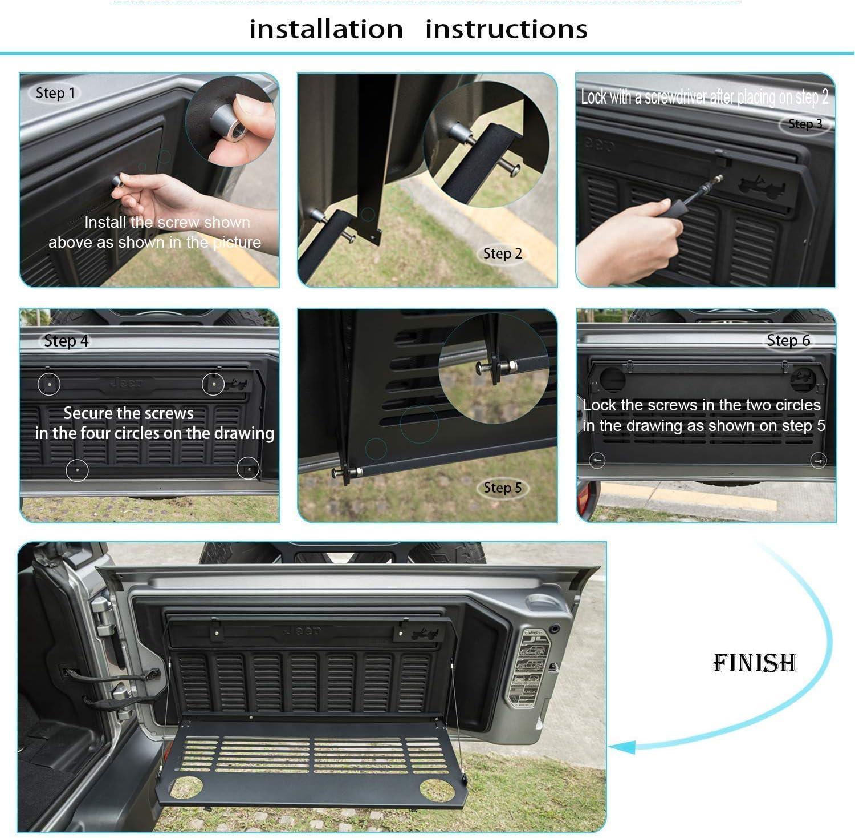 Bosmutus J-eep W-rangler JL Tailgate Table JL Rear Door Table Storage Cargo Shelf Rack Aluminum Alloy Matte Black Rear Foldable Back Shelf fit for J-eep W-rangler JL JLU【Instruction Include】