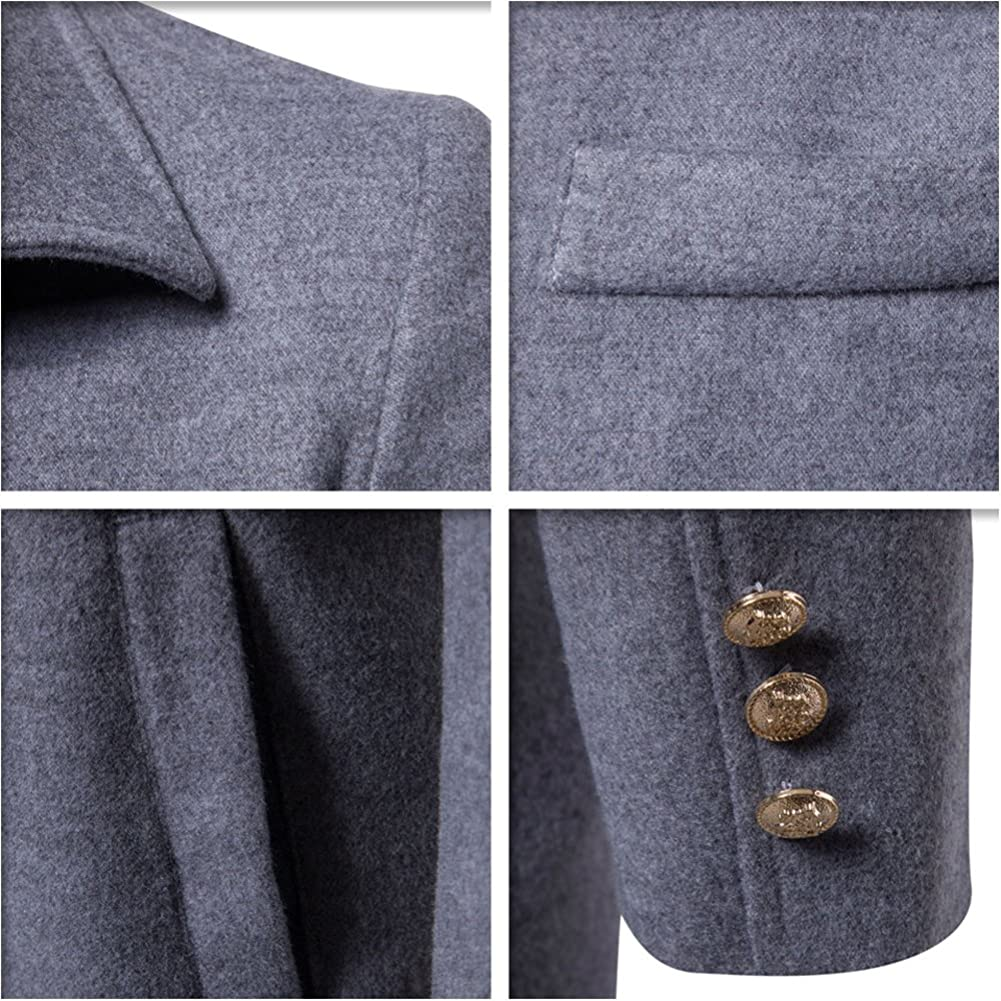 LIYT Mens Wool-Blend Trench Coat Autumn and Winter Warm Overcoat