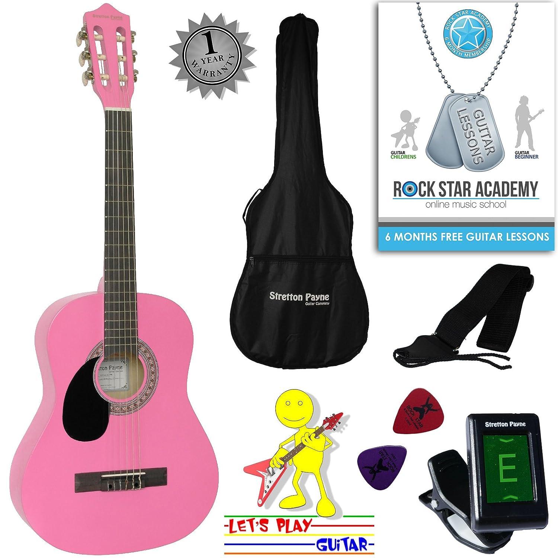Guitarra acústica de mano izquierda, paquete de 3/4 tamaños (36 pulgadas), cuerda de nailon clásica para niños, paquete de guitarra, color rosa Stretton Payne SP34LH