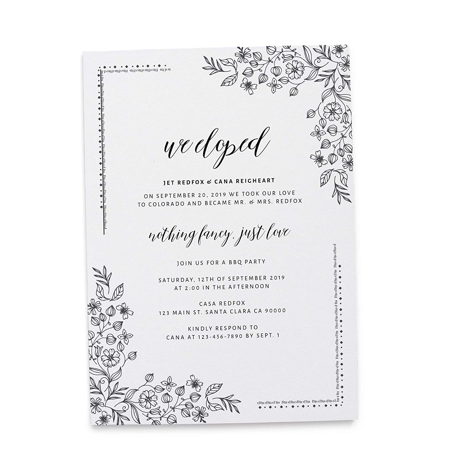 Amazon We Eloped Announcement InvitationNothing Fancy Just