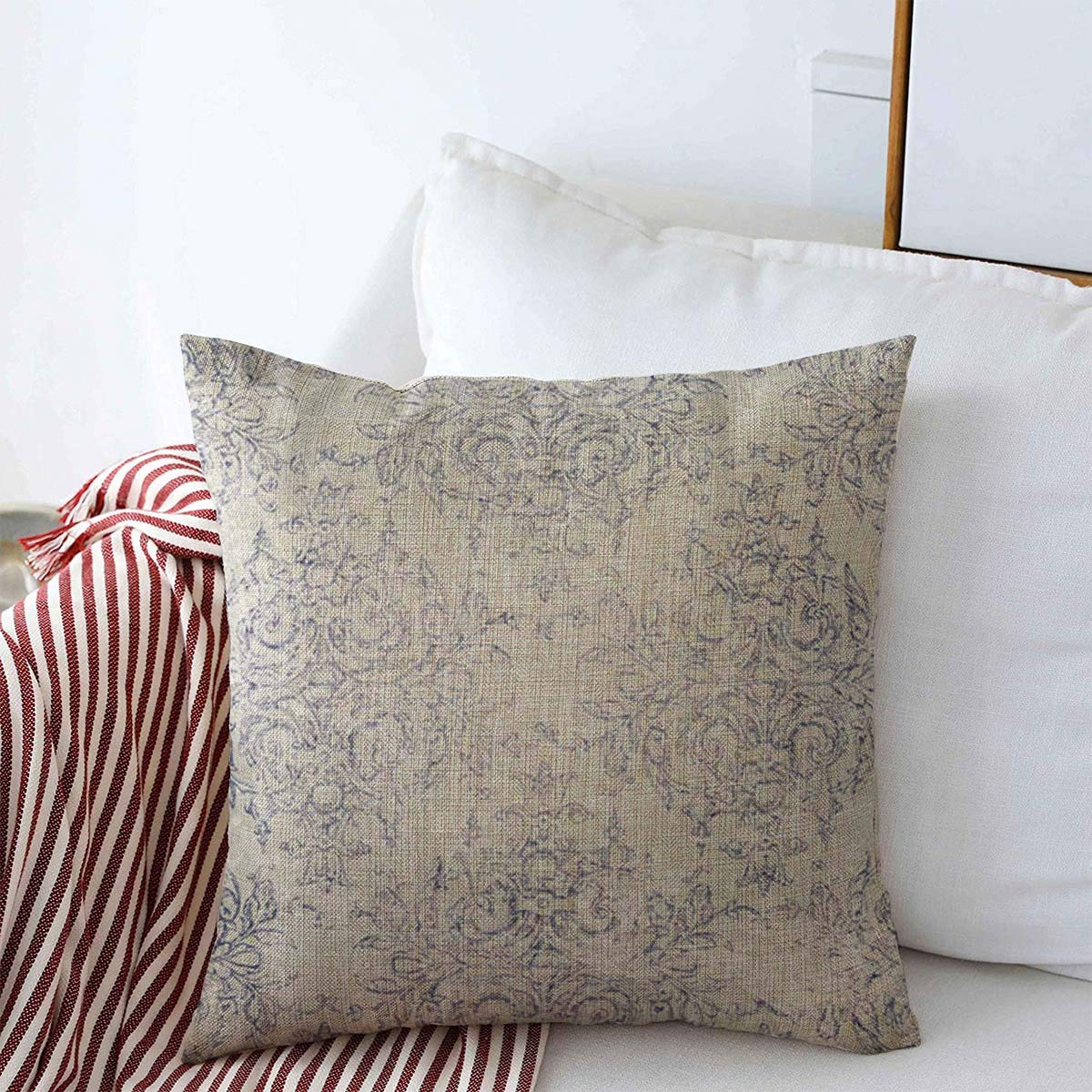 """Starowas Throw Pillow Covers 16"""" x 16"""" Antiqued Blue Taupe Navy Toile French White Beige Delicate Filigree Aged Antique Dark Design Cushion Pillowcase Linen Cases for Winter Home Decoration"""