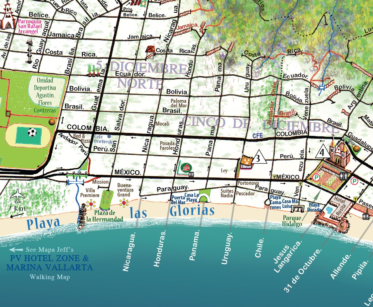 Puerto Vallarta Walking Map: Centro & South Coast: Jeffrey F ...