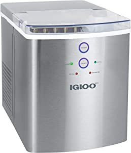 Igloo ICEB33SS Large-Capacity Stainless Steel Automatic Portable Electric Countertop Ice Maker Machine, 33 Pounds in 24 Hours, 9 Cubes Ready in 7 minutes, With Scoop and Basket