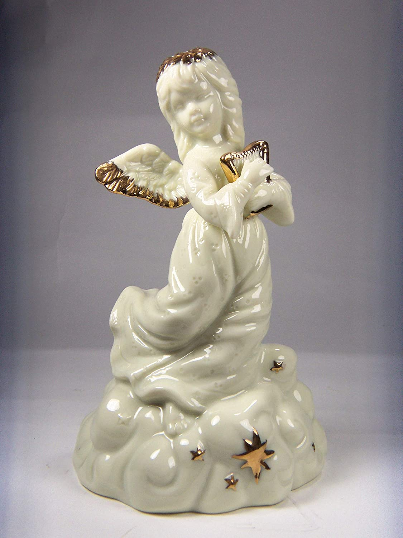 "Pair of Gold Angel Figurines Playing Violin 5/"" Tall Ceramic Music Figurine"