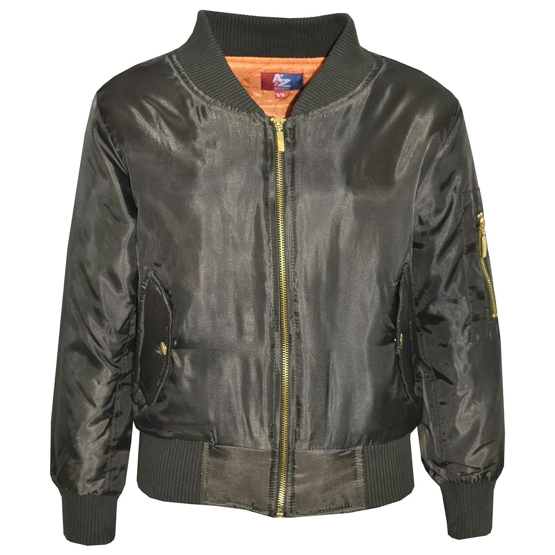 Kids Jacket Girls Boys Bomber Padded Zip Up Biker Jacktes MA 1 Coat 3-13 Years