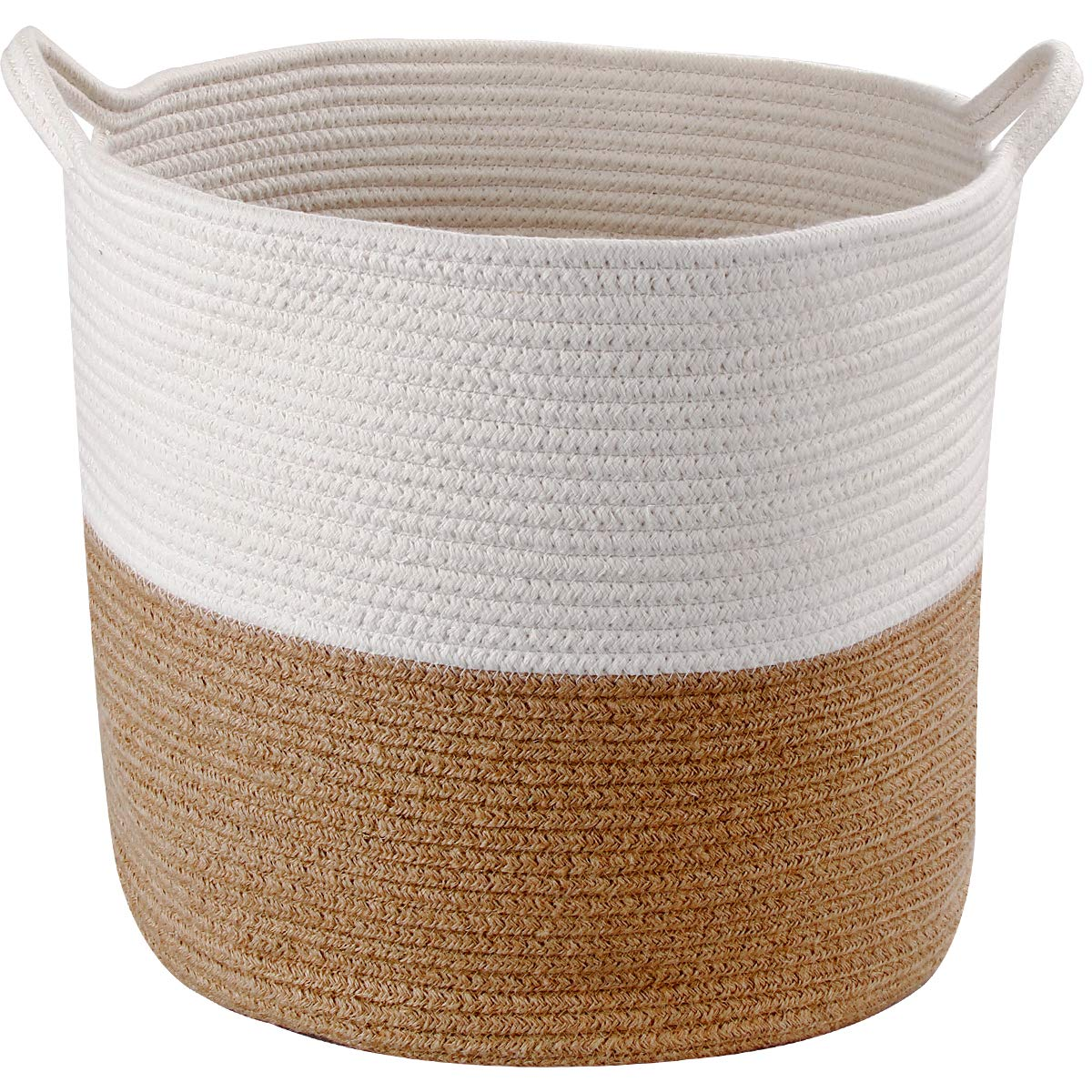 Storage Cotton Basket Extra Large 17''x 14'' with Handles, Baby Nursery Storage Basket, Cotton Rope Decorative Bin Organizer for Laundry, Toys, Towels, Blankets, Books in Living Room, Bathroom