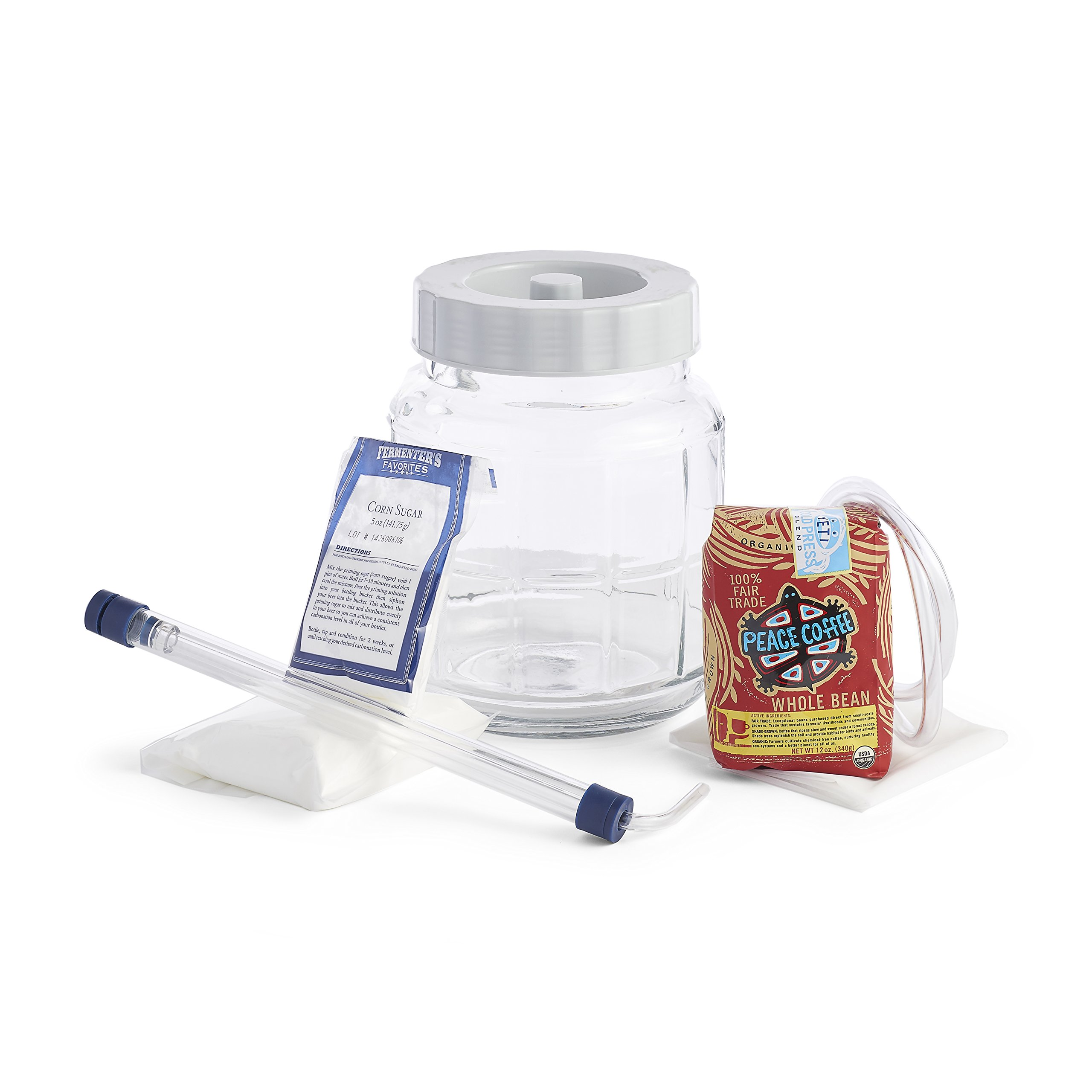 Jacked-Up Jump Start Cold Press Coffee Making System Kit With Little Big Mouth Bubbler and Auto-Siphon For Cold Brewed Coffee At Home