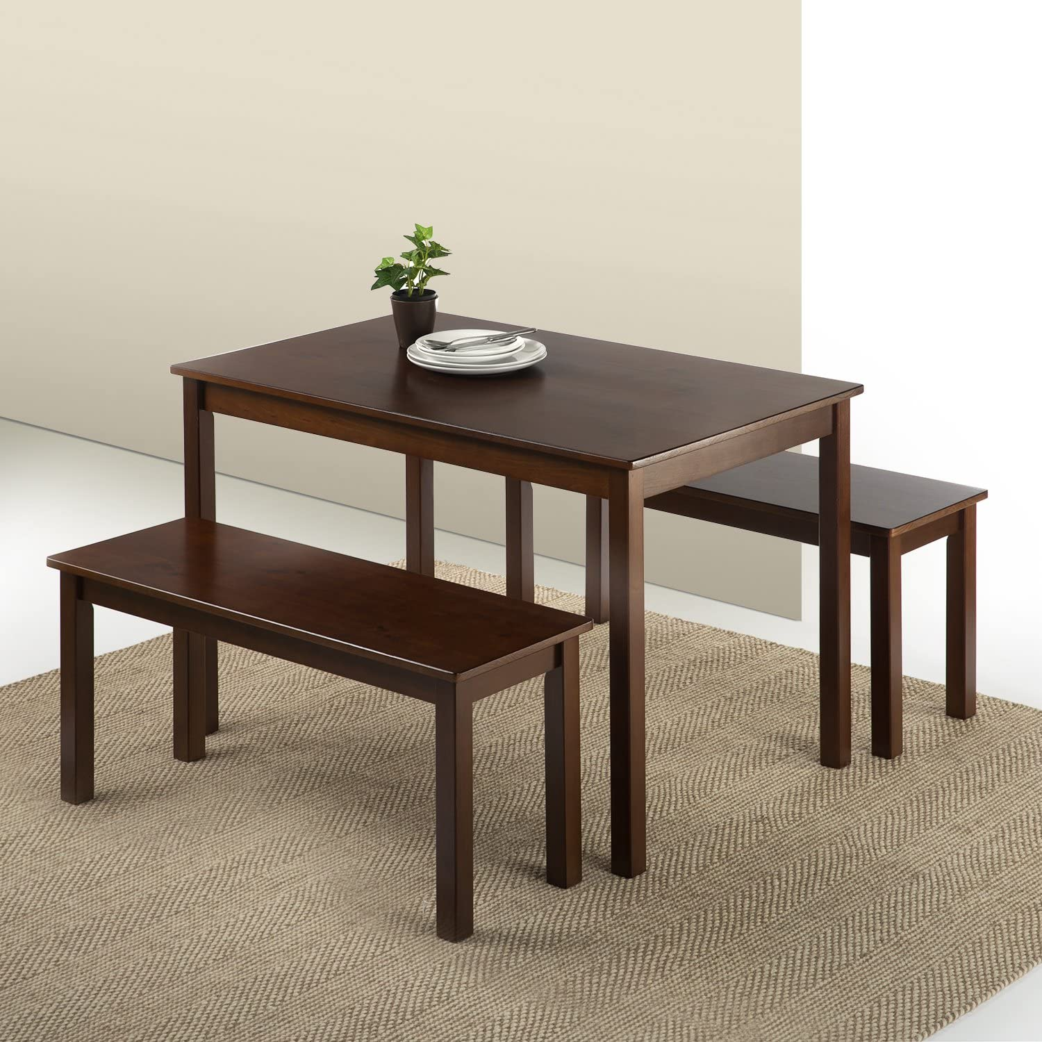 Zinus Juliet Espresso Wood Dining Table with Two Benches 3 Piece Set