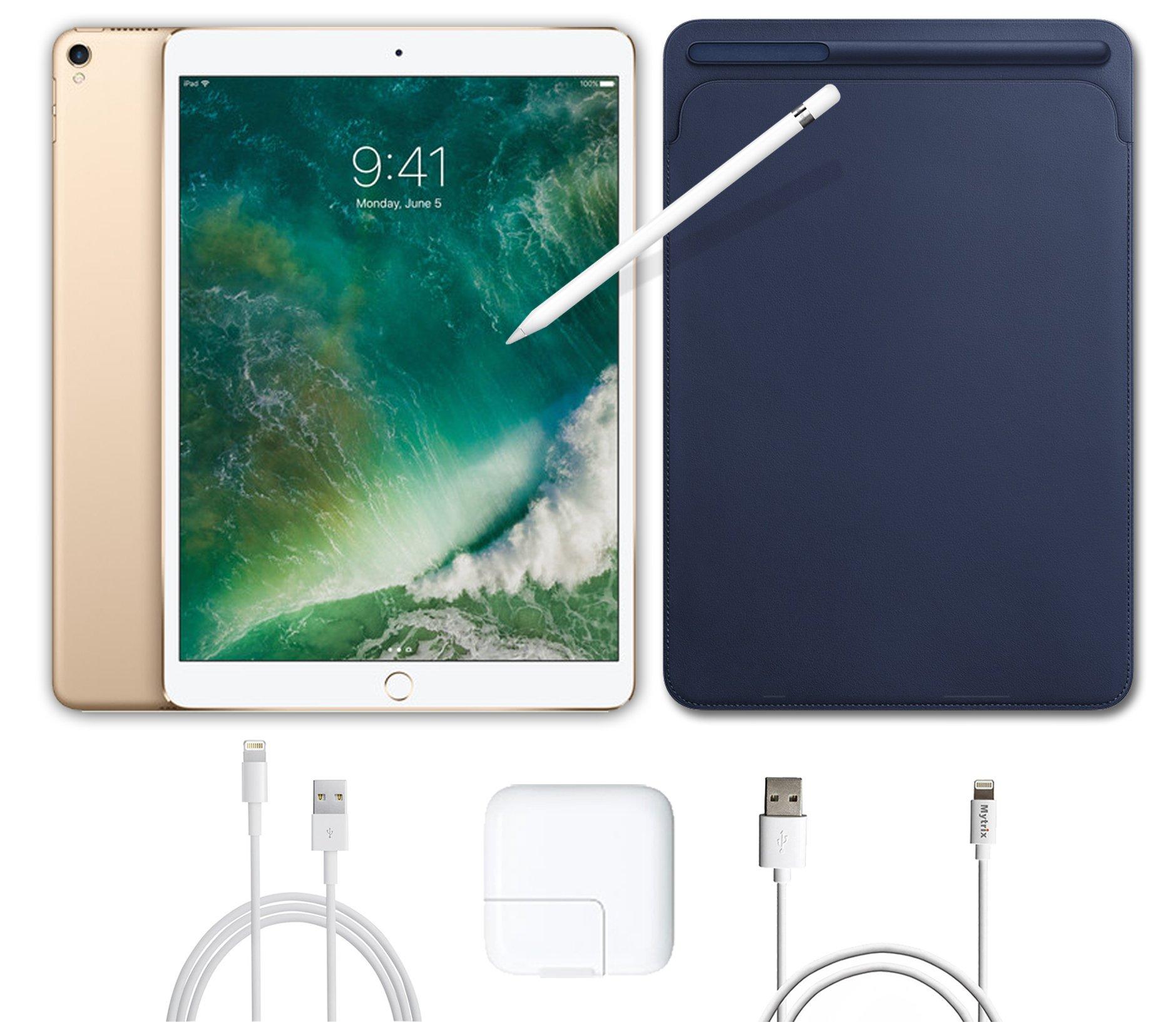 2017 New IPad Pro Bundle (4 Items): Apple 10.5 inch iPad Pro with Wi-Fi 512 GB Gold, Leather Sleeve Midnight Blue, Apple Pencil and Mytrix USB Apple Lightning Cable