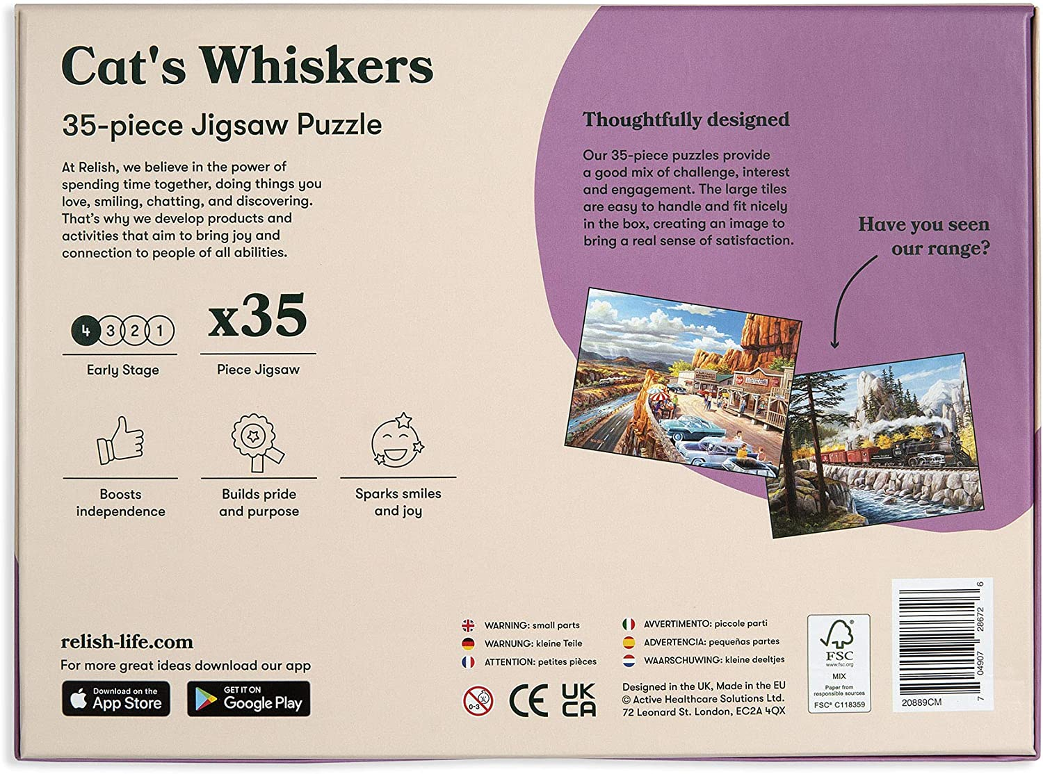 Dementia Active Minds Relish 35 Piece Cats Whiskers Jigsaw Puzzle Game for Alzheimers
