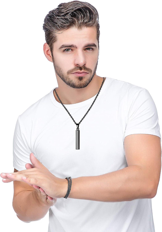 Milacolato Collar Colgante de Barra de Acero Inoxidable para Hombre Mujer Conjunto de Collar de Cadena Colgante de Palo Cuboide Vertical