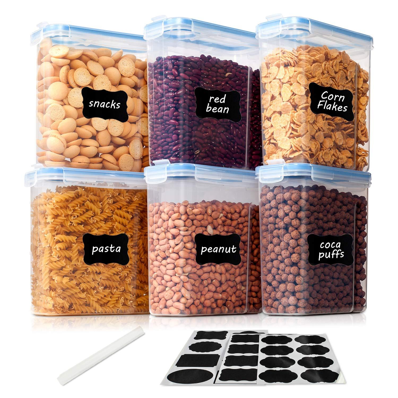 pl/ástico Libre de BPA para Cocina Recipientes de Cereales para Almacenamiento Almacenamiento de harina 2.5L*6 Vtopmart