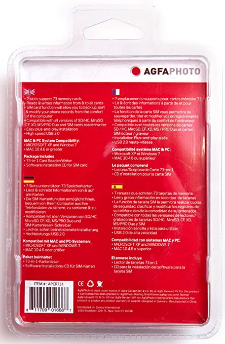 AGFA 73-in-1 Card Reader/Writer Compatible with All Versions of SD/HC, Micro SD, CF, XD, MS/Pro Duo and SIM Cards
