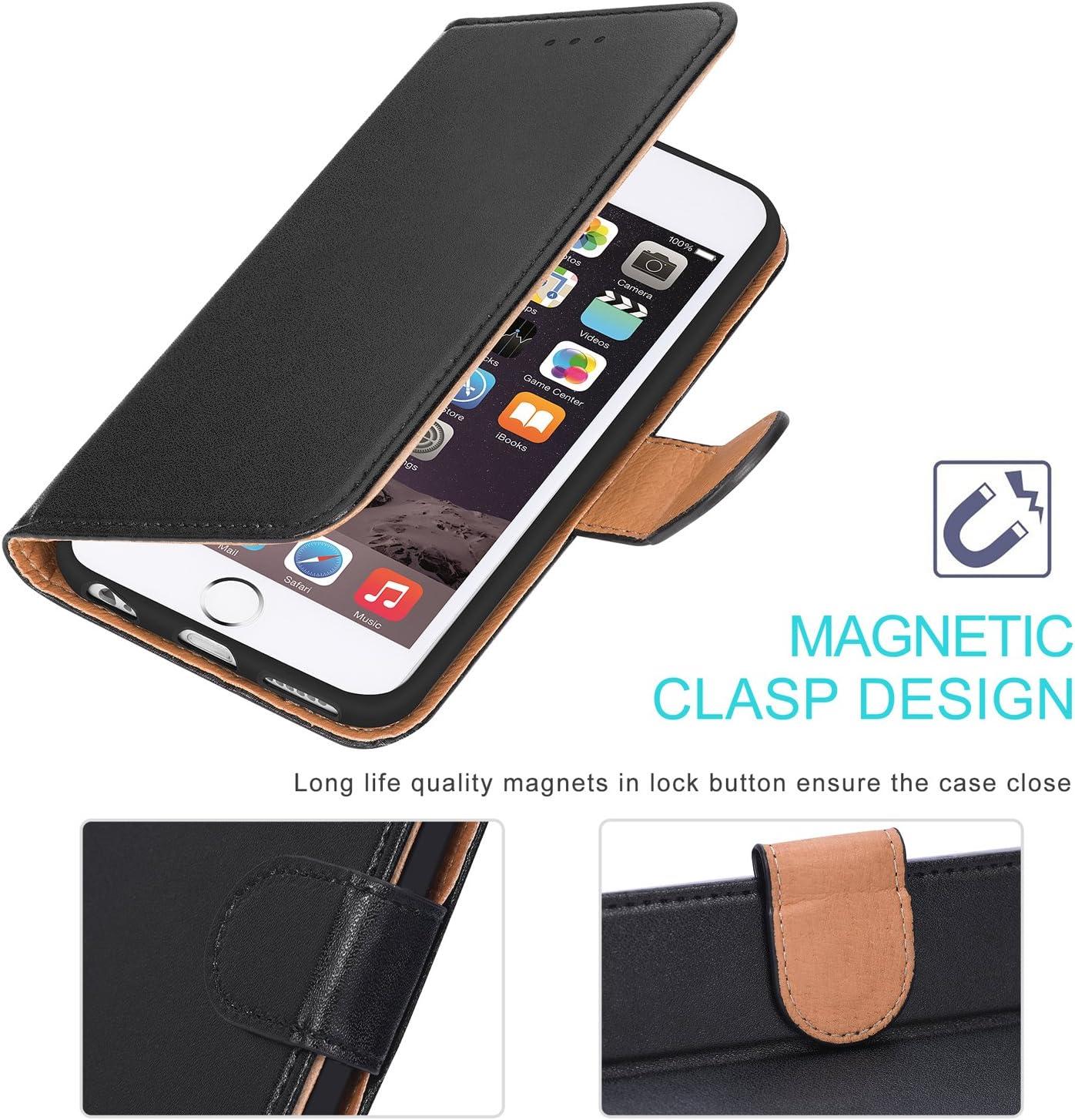 Noir Aicoco Coque iPhone 6 Coque iPhone 6S /Étui Housse en Cuir Flip Case Cover pour Apple iPhone 6 // 6S 4,7