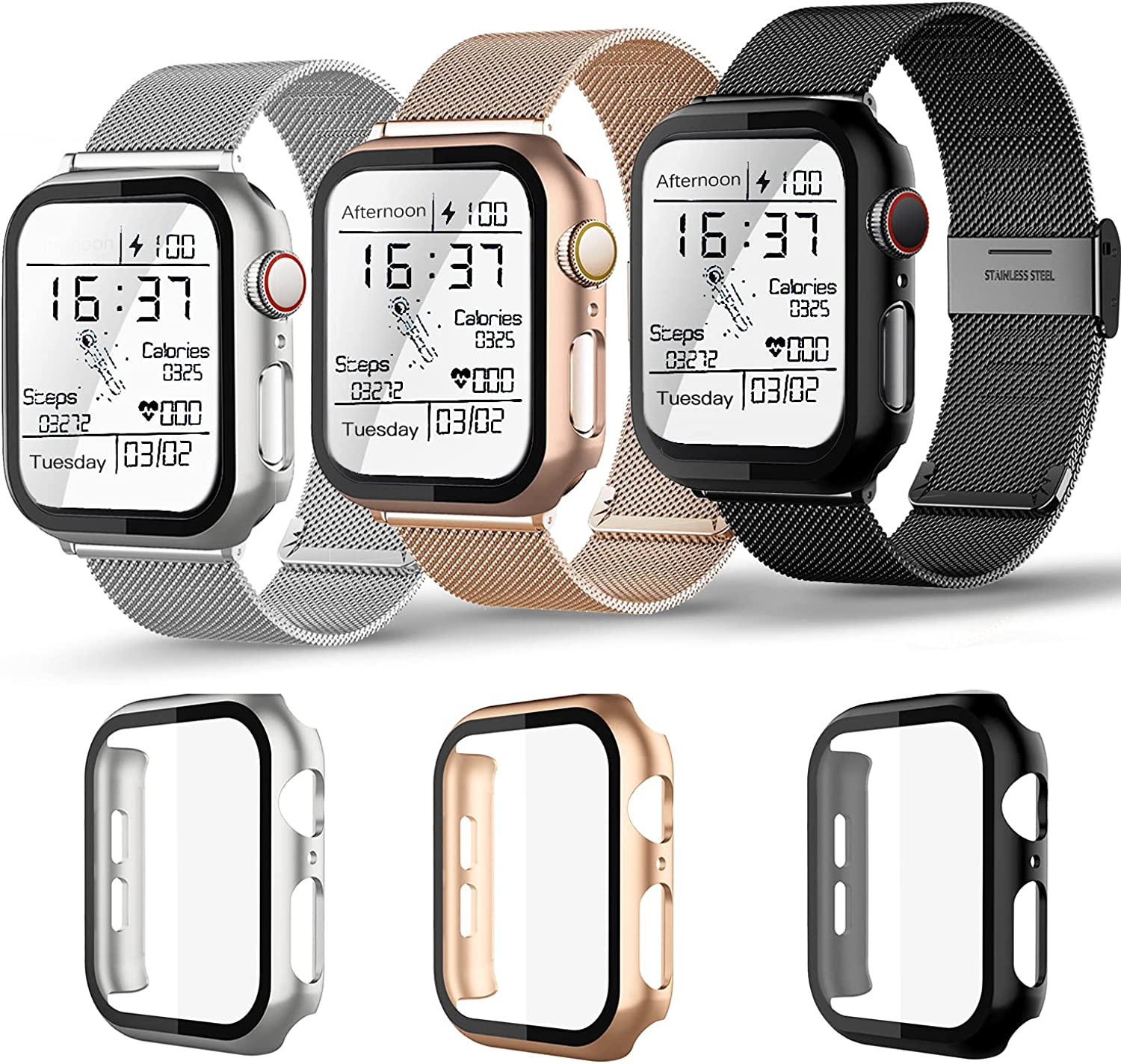 Magnetic iwatch Band with Screen Protector case Compatible for Apple Watch Bands 38mm 40mm 42mm 44mm ,3 pack milan Stainless Steel Mesh Replacement Bands and Case Built in Tempered Glass Screen Protector For Iwatch Series 6/5/4/3/2/SE