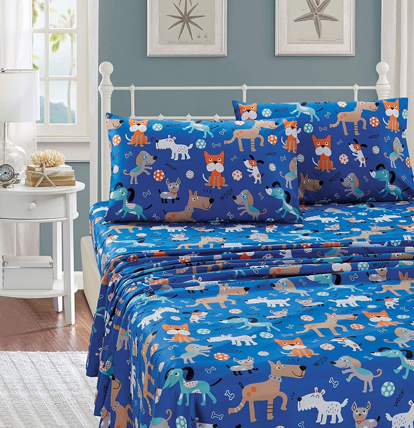 Kids Zone Home Linen 3 Piece Twin Size Sheet Set for Boys/Teens Blue Dog Multi-Color Dogs on a Blue Sheet.