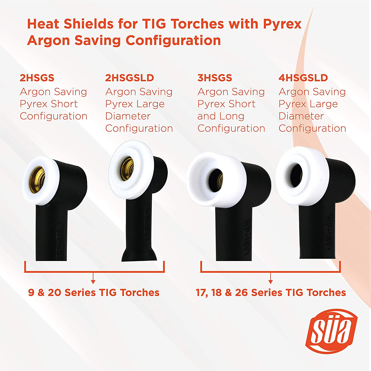 18 /& 26 Series TIG Torches with Fused Quartz Argon-Saving Configuration - Large Diameter Heat Shield for 17 5-PACK S/ÜA