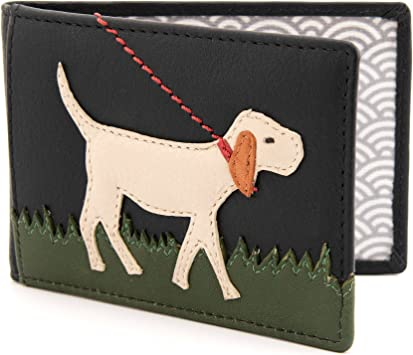 Yoshi Dog Applique Leather Travel Pass//Oyster Card Holder Black