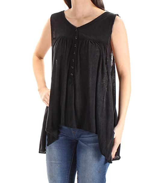 968ad2303fa Amazon.com  We The Free Womens Linen Blend Sleeveless Tank Top Black ...