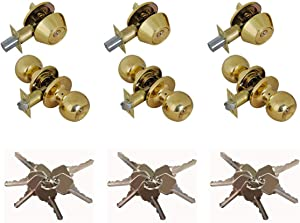 Grip Tight Tools ED02-3 Set of 3 Door Knob & Deadbolt Combo Entry Lock Set Door Knob and Single Cylinder Deadbolt Alike: KW1 Keyway with 18 Keys Included, (Polished Brass) Gold