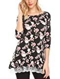 Mofavor Women's Casual 3/4 Sleeve Floral Printed Lace Patchwork Blouse Crew Neck Tunic Tops Loose Shirts