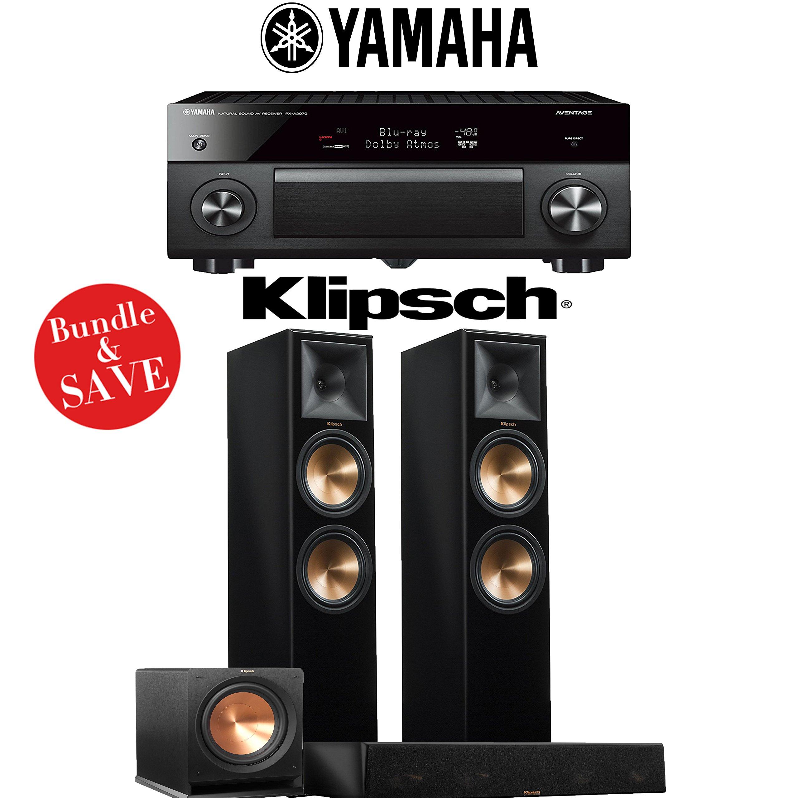 Yamaha AVENTAGE RX-A2070BL 9.2-Ch 4K Network AV Receiver + Klipsch RP-280F + Klipsch RP-450C + Klipsch R-112SW - 3.1-Ch Home Theater Package (Piano Black) by Yamaha