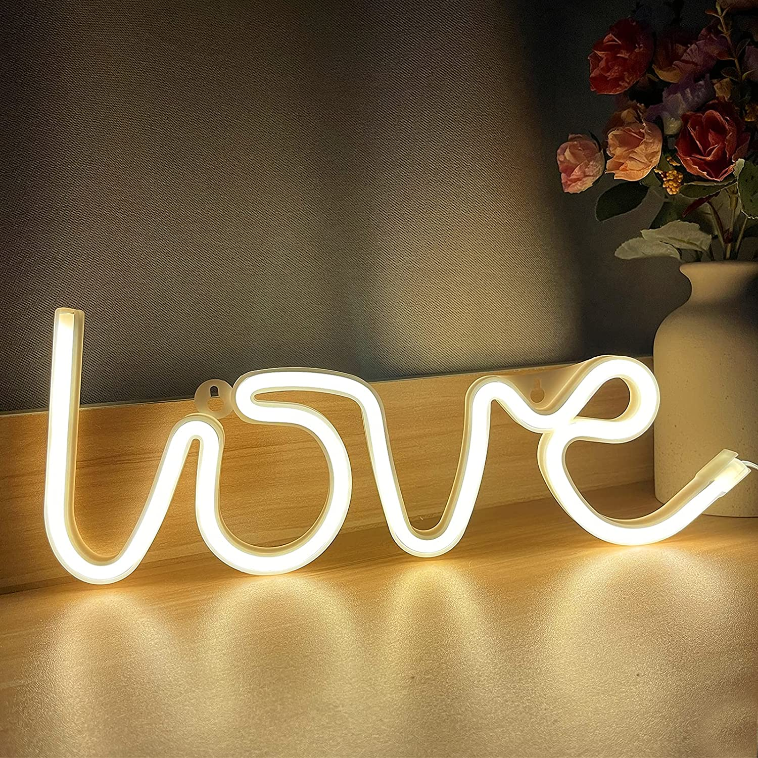 AMENON Love LED Neon Sign for Bedroom Wall Decor, USB or Battery Operated Neon Light up Sign for Home Decor Birthday Wedding Party Kids Living Room Home Indoor Decorations (Warm White)