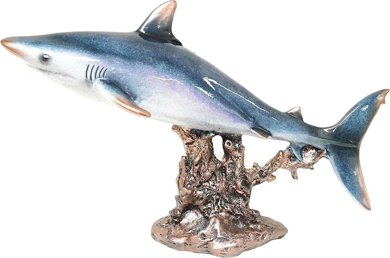 "Large 17""L Ocean Marine Beach Coastal Predator Great White Shark Statue Deep Blue Sea Figurine Home Decor"