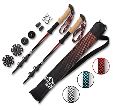 Lightweight Hiking Poles – Choice of 100 Carbon Fiber or Aluminum 7075 pair with Cork Grips Adjustable Flip Locks, arguably the 2 best trekking pole features. Great for Men, Women Kids