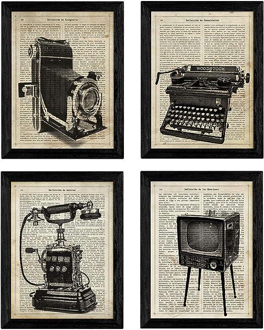 Pack de Cuatro láminas Vintage Camara de Fotos, máquina de ...