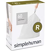 simplehuman code M custom fit liners, 3 refill packs, (60 liners), 45 L/12 gallon, White