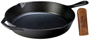 """Lodge Seasoned Cast Iron Skillet w/Hot Handle Holder- 12"""" Cast Iron Frying Pan with Genuine Leather Hot Handle Holder"""