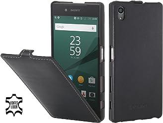 StilGut UltraSlim Case, Custodia in Pelle per Sony Xperia Z5 & Sony Xperia Z5 Dual, Nero Nappa