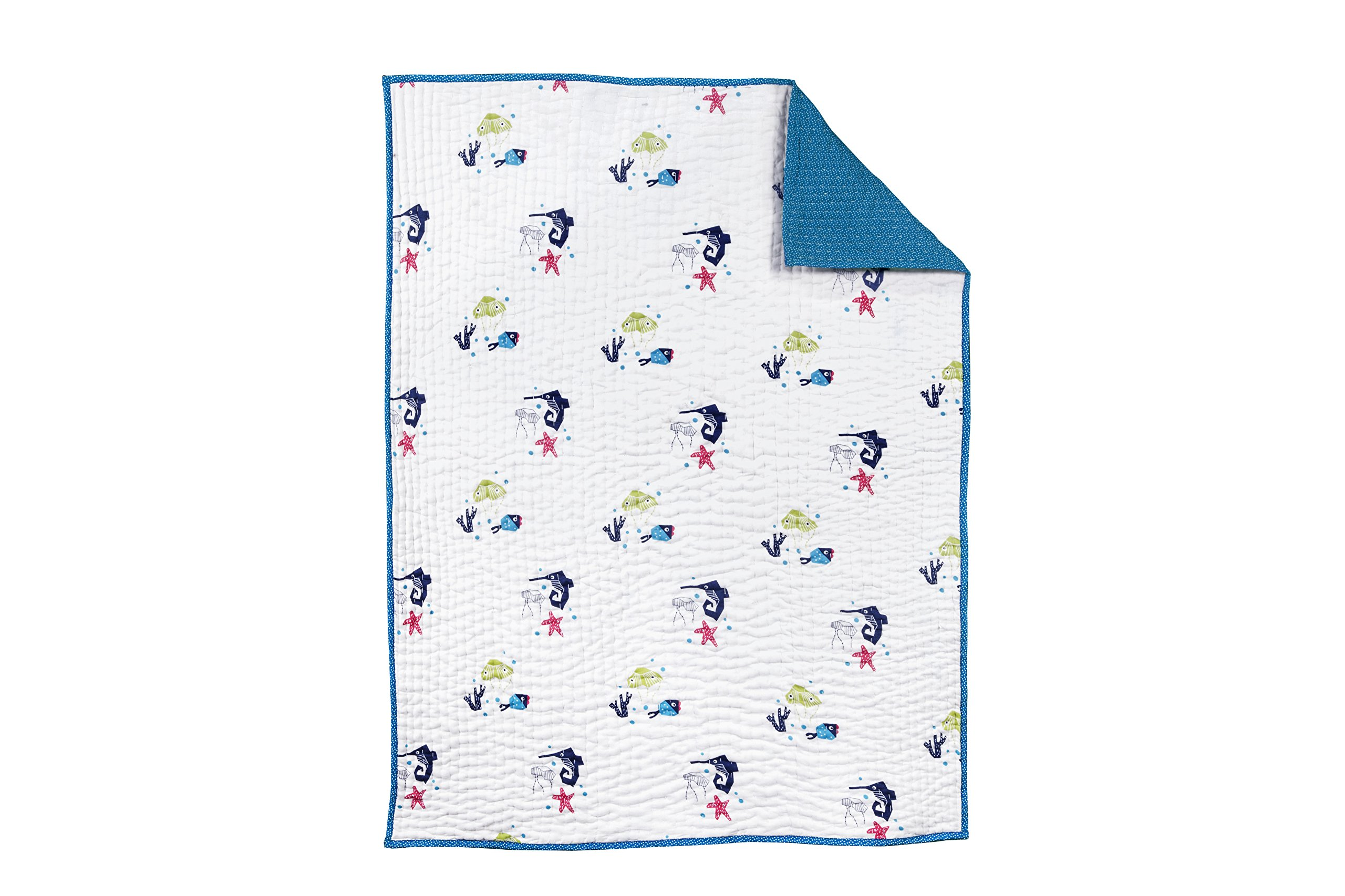 Nursery Works Oceanography Organic Cotton Hand-Quilted Blanket