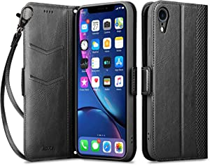 """Aunote iPhone XR Wallet Case with Card Holder, iPhone XR PU Leather Case, Folio Folding Flip iPhonexrcases with Wrist, Slim Protective Case with Kickstand Compatible for iPhone XR 6.1"""" - Black"""
