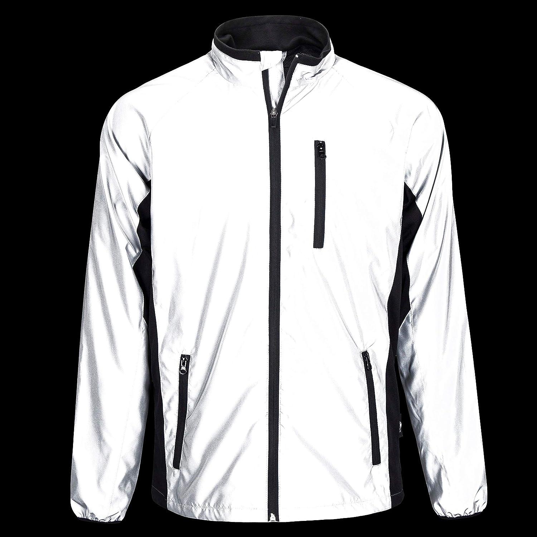 reflektierende Fahrradjacke oder Laufjacke f/ür Herren BTR stark reflektierende Jacke in Silber