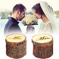 HUABEI Anello nuziale scatola vintage shabby in legno anello box Personalized Mr & Mrs stile country rustico anello box