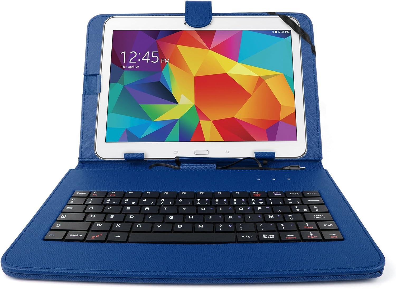 DURAGADGET - Estuche y teclado AZERTY (francés) integrado para tabletas Samsung Galaxy Tab 4 10,1