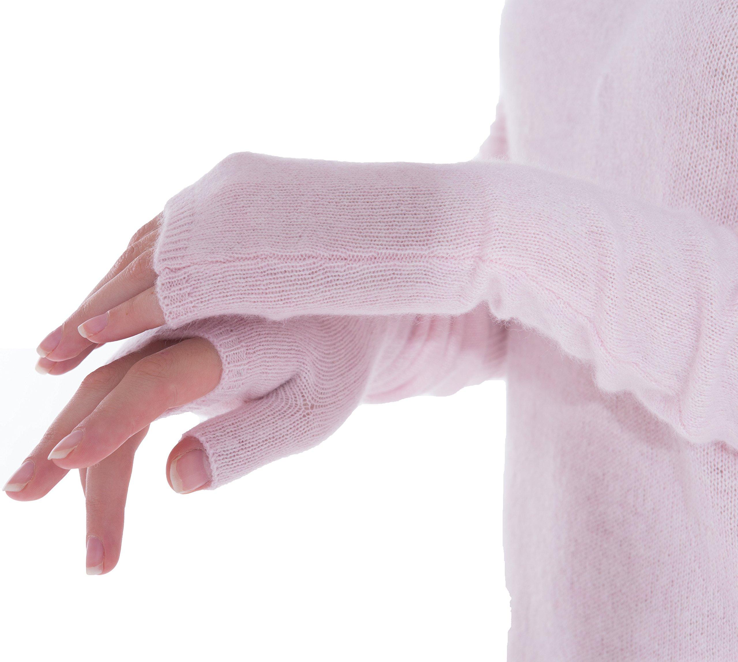 cashmere 4 U Women's 100% Cashmere Long Sleeve Fingerless Mitten Gloves (Givre) by cashmere 4 U (Image #4)