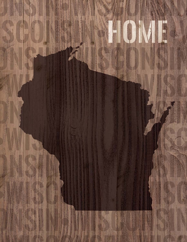 P. Graham Dunn Wisconsin State Home Shape Design 16 x 12 Wood Lath Wall Art Sign Plaque