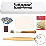 Koppar Bread Lame, Danish Dough Whisk and Flexible Dough Scraper Set - Easy to Use & Clean, Perfect Bread Making Kit…