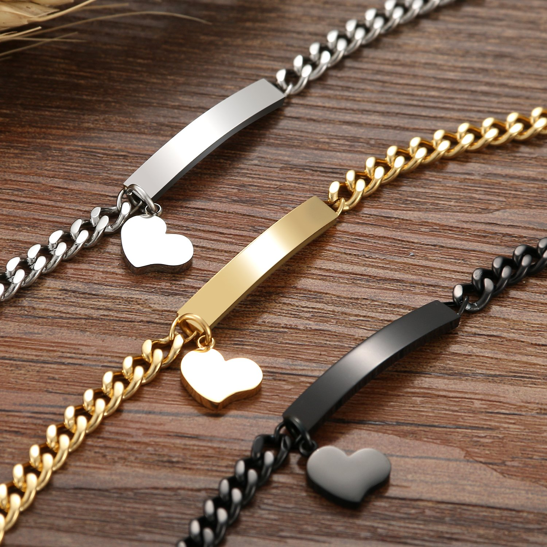 Cupimatch 3 pi/èces en acier inoxydable en acier inoxydable Bracelet en forme de coeur Bracelet /à cha/îne damiti/é Cadeau f/ête des M/ères 19cm