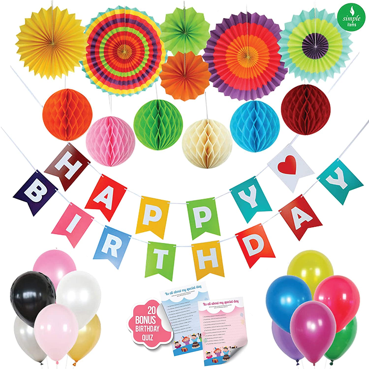 Happy Birthday party Decorations, + BONUS 20 Pcs Birthday Quiz Game - Birthday Banner Supplies, 6pcs Paper Honeycomb Balls, 12 pcs Latex Party Balloons and 6 colourful Paper Fan, for kids and adults Simple Items