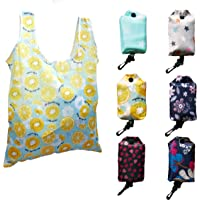 6 Pack Reusable Foldable Grocery Bags Shopping Bags Water Resisted 50LBS Cute Groceries Bags with Pouch and Hanger