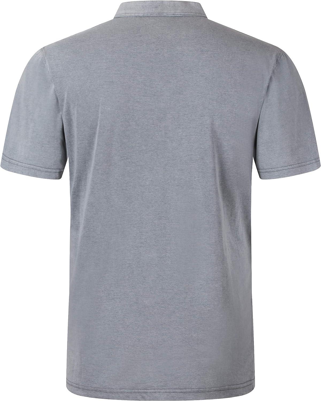 Camiseta de manga corta para hombre con botones y cuello en forma de Y estilo casual Yingqible Henleys